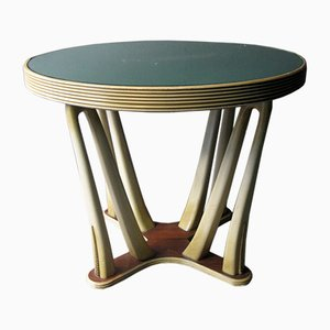 Tavolo vintage in legno verniciato con ripiano in vetro