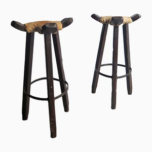 High Vintage Wooden Stools with Cow Leather Seats, Set of 2