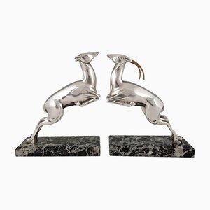 Art Deco Buchstützen aus versilberter Bronze mit Rehfiguren von Marcel Bouraine, 2er Set