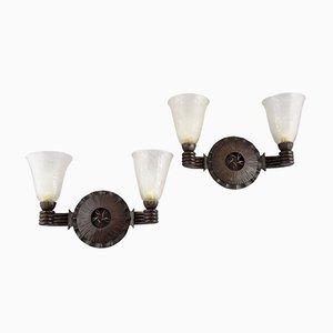 Lámpara de pared Art Déco de hierro forjado y vidrio de Nics Freres para Daum