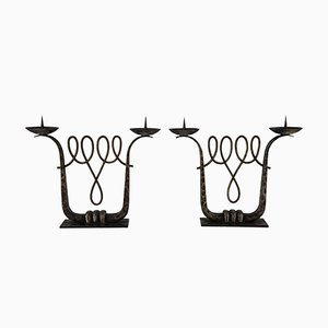 Art Deco Wrought Iron Candelabra by Michel Zadounaïsky, Set of 2