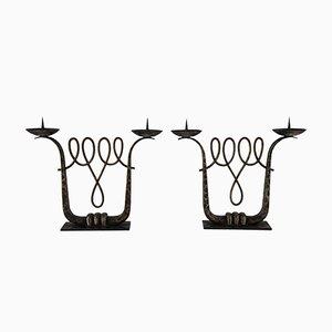 Candelabro Art Déco in ferro battuto di Michel Zadounaïsky, set di 2