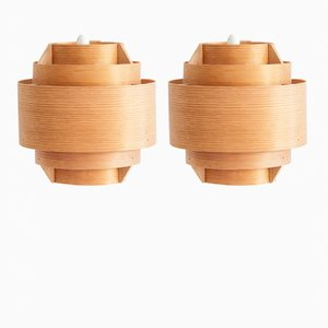 Pine Wall Lamps by Hans-Agne Jakobsson for Ellysett AB Markaryd, 1960s, Set of 2