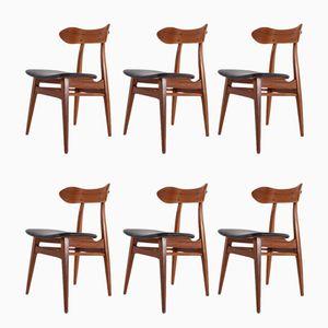 Esszimmerstühle mit schwarzen Ledersitzen von Louis van Teeffelen für WéBé