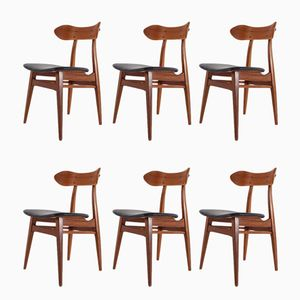 Vintage Dining Chairs with Black Leather Seats by Louis van Teeffelen for WéBé, Set of 6