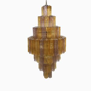Large Murano Glass Tronchi Chandelier from Italian light design
