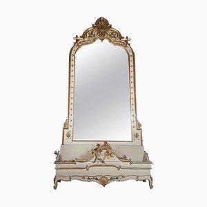 Espejo antiguo grande con macetero, década de 1880
