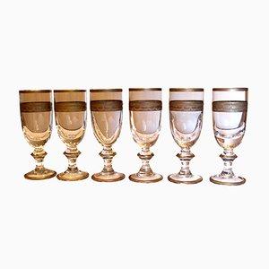 Bicchieri antichi in vetro soffiato con decorazioni dorate, set di 6