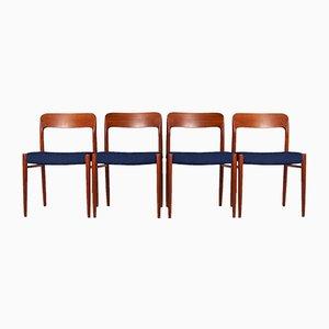 Chaises de Salle à Manger Personnalisables Modèle N°75 en Teck par Niels Otto Møller pour JL Møllers Møbelfabrik, Set de 4