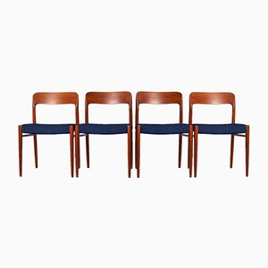 Customizable Model No. 75 Teak Dining Chairs by Niels Otto Møller for JL Møllers Møbelfabrik, Set of 4