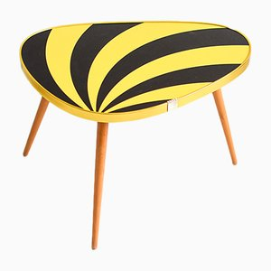 Oval Mid-Century Kidney Table with Yellow Stripes, 1960s