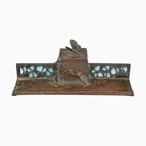 Antikes Jugendstil Tintenfässchen aus Bronze & Glas mit Schmetterlingen
