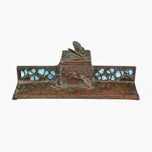 Calamaio antico Art Nouveau in bronzo e vetro con farfalle