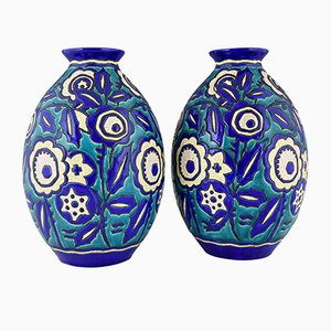 Art Deco Ceramic Vases with Flowers by Charles Catteau for Keramis, 1929, Set of 2