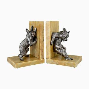 Fermalibri Art Déco a forma di orso in bronzo di Charles Paillet, set di 2