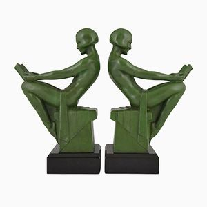Art Deco Reading Nudes Bookends by Max Le Verrier, 1930s, Set of 2