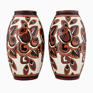 Art Deco Ceramic Craquelé Vases by Charles Catteau for Keramis, 1920s, Set of 2