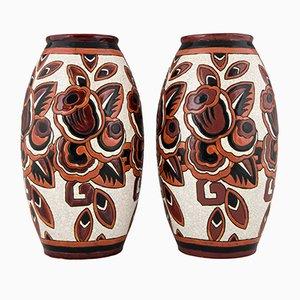 Art Deco Craquelé Keramikvasen von Charles Catteau für Keramis, 1920er, 2er Set