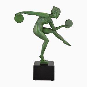 Vintage Skulptur eines tanzenden Aktes mit Scheiben von Derenne