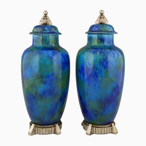 Art Deco Keramikvasen mit blauer Glasur von Paul Milet für Sèvres, 1925