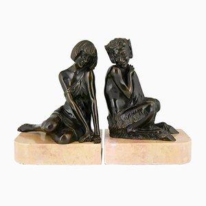Vintage Art Deco Buchstützen mit Lady und Satyr aus Bronze von Pierre Le Faguays