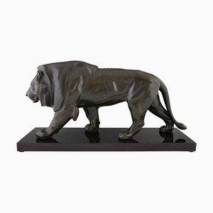 Vintage Art Deco Skulptur eines Löwen von Max Le Verrier