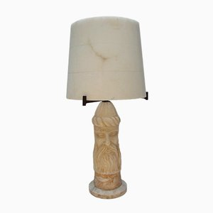 Figural Viking Alabaster & Marble Table Lamp, 1950s