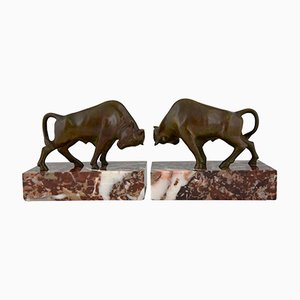 Vintage Bronze Bull Bookends by Luc