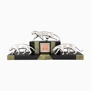 Horloge Panthère Art Déco en Marbre& Onyx par Michel Decoux, 1920s