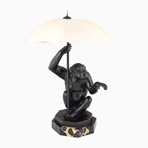 Art Deco Monkey and Umbrella Table Lamp by Max Le Verrier, 1930s