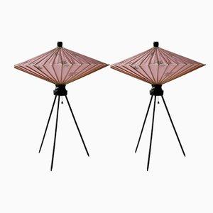 Japanische Kasa Tischlampen, 1950er, 2er Set