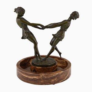 Centro de mesa con escultura de bronce de Andre Gilbert, 1925