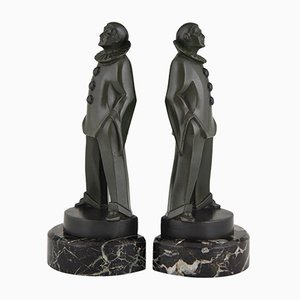 Art Deco Pierrot Bookends by Max Le Verrier, 1930s