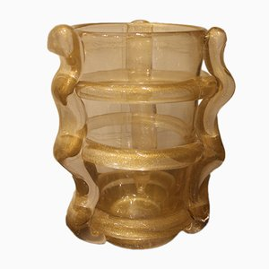 Large Gold Murano Glass Flower Vase, 1980s
