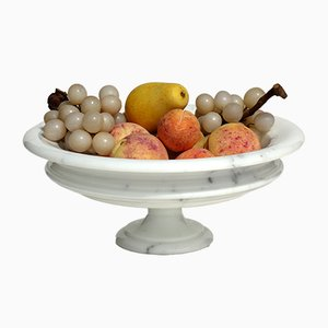 Italian Carrara Marble Bowl with Painted Fruit, 1980s
