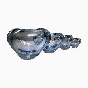 Jarrones en forma de corazón de vidrio azul de Per Lütken para Holmegaard, años 60. Juego de 4