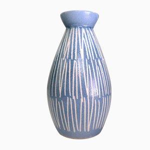 Vaso vintage in ceramica blu chiaro e bianca, anni '60