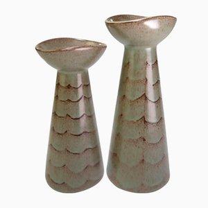 Grüne dänische Kerzenhalter oder Vasen von Johannes Hansen für Løvemose Keramik, 1950er, 2er Set