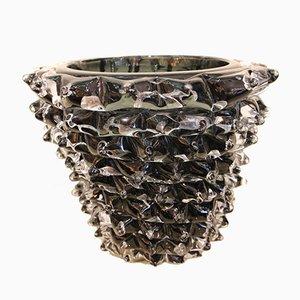 Vaso nero in vetro di Murano, anni '80