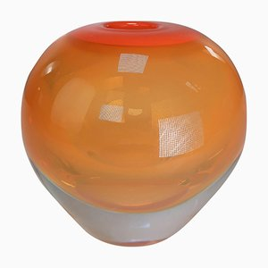 Danish Modern Orange Glass Vase from Holmegaard, 1960s
