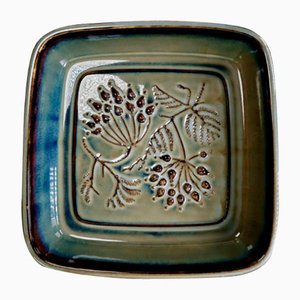 Dänische Schüssel aus Porzellan in Olivegrün mit Blättern von Bing & Grondahl, 1950er