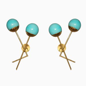 Italian Sconces in Turquoise Blue Murano Glass and Brass, 1970s, Set of 2