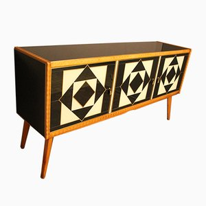 Italian Black and White Sideboard in Murano Glass with Brass Inlay, 1960s