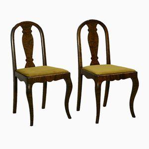 Antique Swedish Satin Birch Chairs, Set of 2