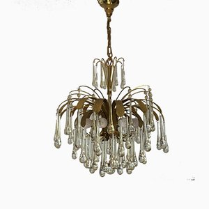 Gilt Brass Chandelier from Palwa, 1970s