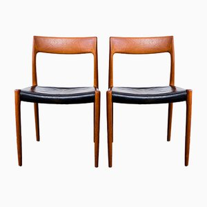 Model 77 Teak and Leather Chairs by Niels Otto Møller for J.L. Møller, 1970s, Set of 2