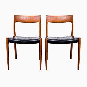 Sedie modello 77 in teak e pelle di Niels Otto Møller per J.L. Møller, anni '70, set di 2