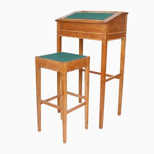 Vintage Danish Tall Standing Desk & High Stool