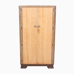 Vintage Art Deco Satin Walnut Compactum Wardrobe