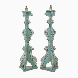 Mid-Century Theatre Painted Floor Lamps, Set of 2